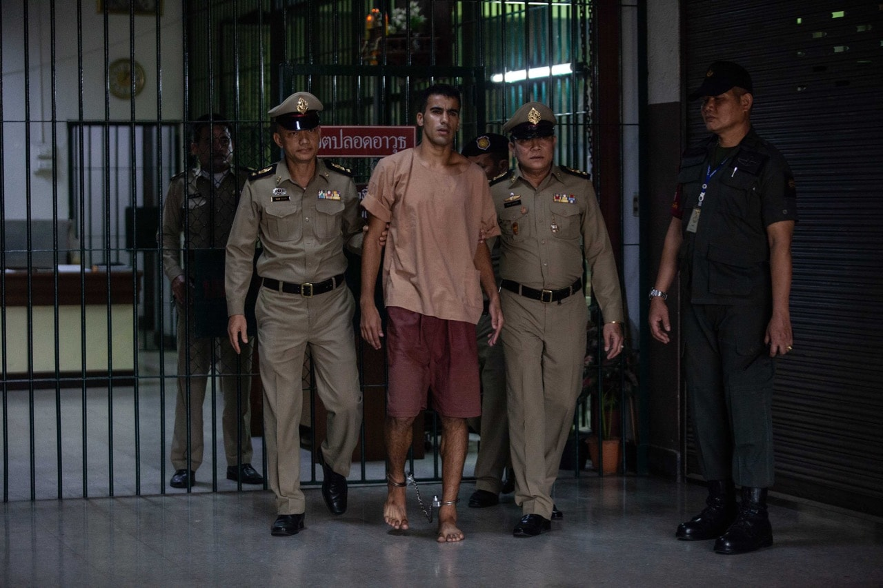 Hakeem al-Araibi, a refugee footballer, leaves Bangkok's Criminal Court in Bangkok, Thailand, 4 February 2019, Lauren DeCicca/Getty Images