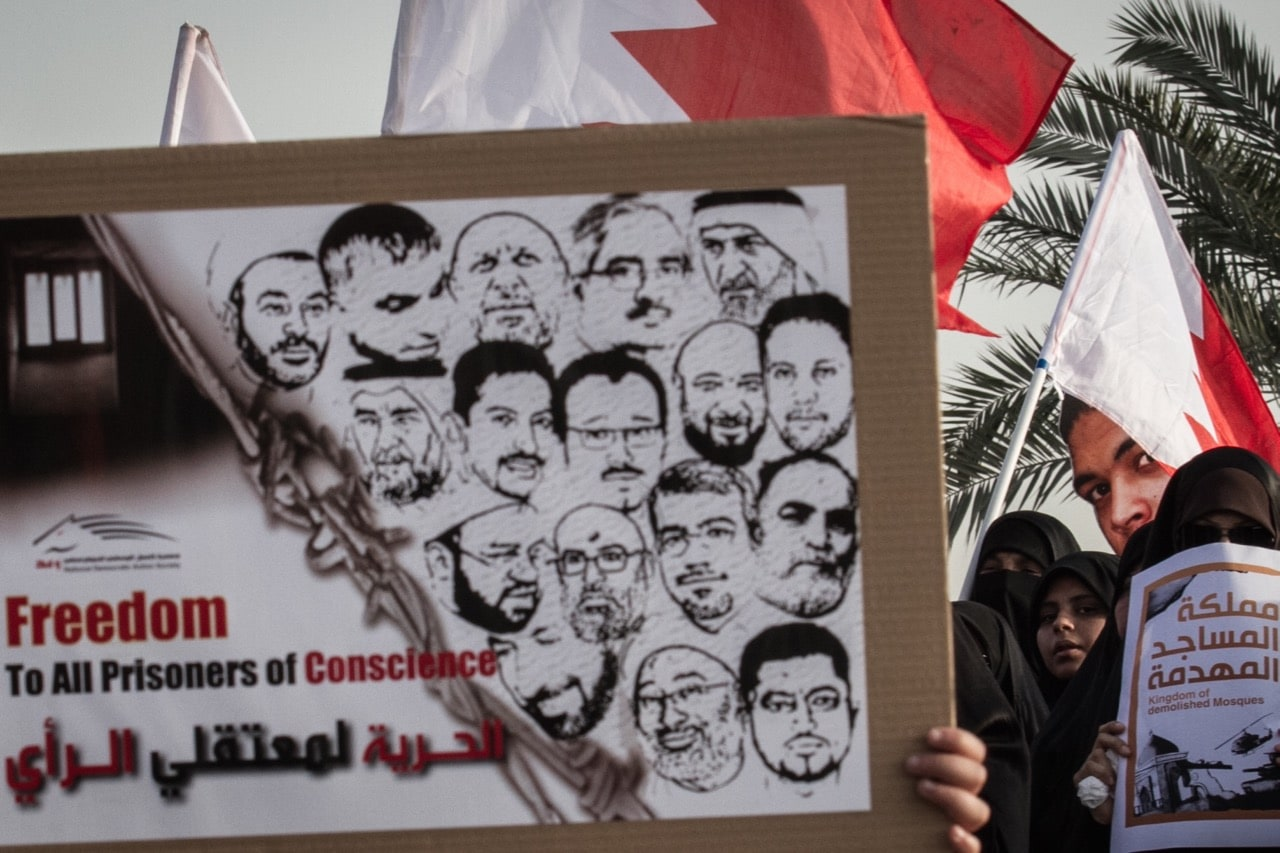 An opposition rally in Aali, Bahrain, 18 April 2014, Ahmed AlFardan/NurPhoto/Corbis via Getty Images
