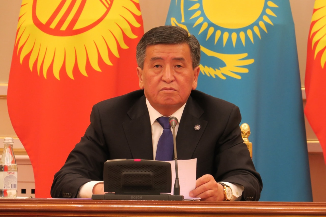 The President of Kyrgyzstan Sooronbay Jeenbekov during a joint press conference with the President of Kazakhstan (not seen) in Astana, Kazakhstan, 25 December 2017, Aliia Raimbekova/Anadolu Agency/Getty Images