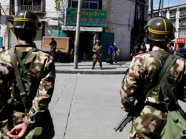 3 March 2010 file photo of Chinese military personnel in Lhasa, Tibet. In his blogs, Druklo commented on the increased presence of armed security forces in Tibet, AP Photo/David Wivell