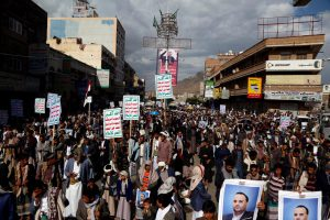 Yemeni Houthi supporters participate in a protest marking the first anniversary of the killing the head of the Houthis' Supreme Political Council, in Sana'a, 19 April 2019, Mohammed Hamoud/Getty Images