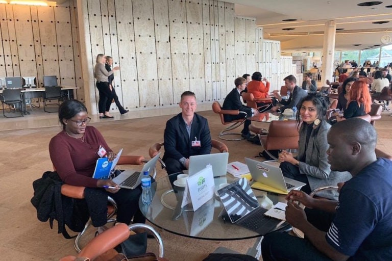 MFWA's Vivian Affoah, IFEX's Matt Redding, Sabrine Baâboura from RIDH, and Sheriff Bojang Jnr from the Gambia Press Union in Geneva, Switzerland, 8 October 2019