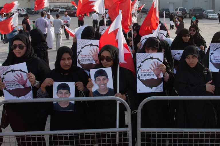 Opposition supporters take part in a sit-in in front of the UN building in Manama, Bahrain, to condemn torture and in solidarity with victims of torture, 26 May 2014, Hussain Albahrani/Pacific Press/LightRocket via Getty Images