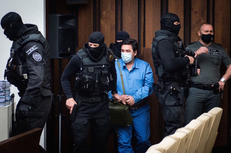 Slovak businessman Marian Kočner (C) attends a public hearing at the Slovak Supreme Court as he appears on charges of ordering the murders of investigative journalist Ján Kuciak and his fiancée, Martina Kušnírová, in Bratislava, 15 June 2021, VLADIMIR SIMICEK/AFP via Getty Images