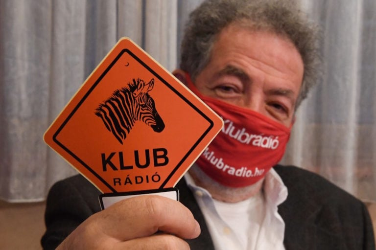 Budapest, Hungary, 9 February 2021. The chairman of the critical Hungarian radio broadcaster Klubrádió poses at the station's headquarters in Budapest, after it lost an appeal to keep its license, ATTILA KISBENEDEK/AFP via Getty Images